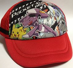 POKEMON BW Mesh Trucker Cap - Adjustable Hat (Red) for Kids and Children * Check this awesome product by going to the link at the image.