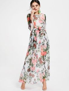 SHARE & Get it FREE | Floral Print Long Sleeve Belted Maxi Dress - White MFor Fashion Lovers only:80,000+ Items • New Arrivals Daily Join Zaful: Get YOUR $50 NOW!