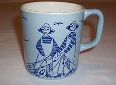 Stavangerflint Norway Mug Light Blue Fisherman Fishing Boats Coffee Scandanavian