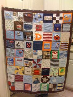 baby clothes quilt. I plan to make this with Rangers shirts!