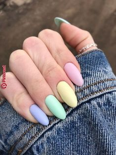 latest acrylic nail designs for summer 2019 page 53 - rainbow-nails - Uñas Summer Acrylic Nails, Best Acrylic Nails, Acrylic Nail Art, Summer Nails, Spring Nails, Pastel Nail Art, Acrylic Nail Designs For Summer, Spring Nail Colors, Nail Designs Spring