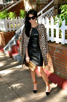 Black leather dress; leopard jacket; winter outfit