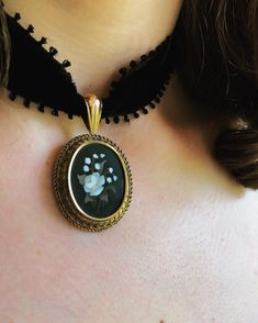 A Victorian Pietra Dura Pendant. Amazing craftsmanship goes into making this little piece of art. In store now.