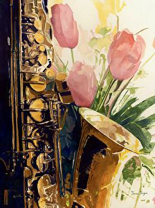 Reflections of a Saxophone by artist Janice Tingum. (watercolor painting) Found on the FASO Daily Art Show -- http://dailyartshow.faso.com
