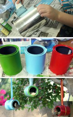Poppytalk - The beautiful, the decayed and the handmade: Weekend Project: Painted Paint Tin Planters Cottages And Bungalows, Kids Inspire, Dessert Decoration, Weekend Projects, Green Life, Recycling, Planters, Arts And Crafts, Crafty