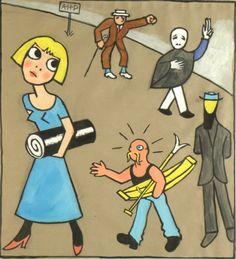 Künstler Niklaus Stoecklin  Titel Schnitzelbangg zu Künstlerfest (AHP= Alfred Heinrich Pellegrini)  Technik Aquarell Bart Simpson, Fallout Vault, Fictional Characters, Watercolour, Fantasy Characters