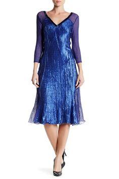 V-Neck 3/4 Length Sleeve Contrast Panel Dress by KOMAROV on @nordstrom_rack