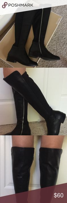 Michael Kors Brinkley flat over the knee boot. Size 7 Michael Kors Bromley flat, over the knee boot. Leather with stretchy fabric in the back. Silver zipper on the inside - easy to get on. Worn on a few times so they are in great condition. MICHAEL Michael Kors Shoes Over the Knee Boots