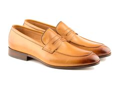 d4d0ac47742 Carlo - Penny Loafer Shoe In Tan Calf Leather Leather Loafers