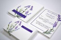 lawendowe zaproszenia ślubne na fakturowanym papierze