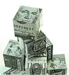 Money Origami Cubes of Cash.