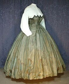 1860's swiss waist of unique design , sheer garabaldi blouse and skirt. no other info at link