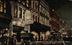 Nashville TN Fifth Avenue North, Toward Union Street, by Night