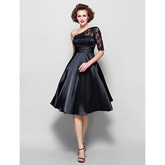 Lanting+Bride®+A-line+Plus+Size+/+Petite+Mother+of+the+Bride+Dress+-+See+Through+Knee-length+Half+Sleeve+Lace+/+Stretch+Satin+withBeading+–+USD+$+89.99