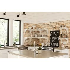 kitchens - exposed brick wall, white shelves, white kitchen cabinets, gray corian counter tops, Urban Grace Interiors found on polyvore.com