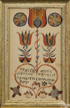 Susanna Heebner (Montgomery County, Pennsylvania 1750-1818), Schwenkfelder ink and watercolor - Price Estimate: $1500 - $2500