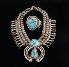 """Jack Adakai, Navajo, Squash Blossom Necklace, ca. 1940-70s. For the artist biography, see """"American Indian Jewelry I & II,"""" by Gregory and Angie Schaaf."""