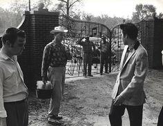Elvis Presley with Arthur Hooten (far left) at Graceland April 22, 1957.