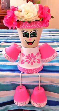 Jayme Pink Flower Dots Clay Pot Head People Terra Cotta Planter - All About Clay Pot Projects, Clay Pot Crafts, Diy Clay, Diy And Crafts, Crafts For Kids, Flower Pot Art, Clay Flower Pots, Flower Pot Crafts, Flower Pot People