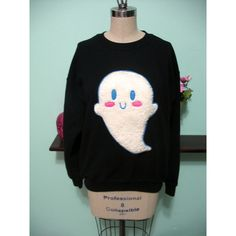 Pastel Goth Kawaii Cute Ghost Sweater Halloween Boo Oversized... ($45) ❤ liked on Polyvore featuring tops, hoodies, sweatshirts, sweaters, pastel goth, shirts, sweat shirts, pastel shirts, sleeve shirt and black sweatshirt