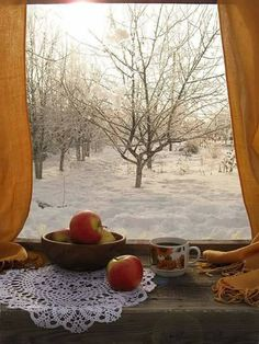 Love this winter window view! I Love Winter, Winter Snow, Winter Christmas, Snow Scenes, Winter Scenes, Ventana Windows, Looking Out The Window, Winter Magic, Window View