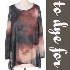 CUTE TIE DYE TOP! Beautiful colors of a Sedona sunset and a late night sky. Slight asymmetrical hem in this top, scoop neck. 96% rayon, 4% spandex. Made in USAMeasurements upon request. PLEASE DO NOT BUY THIS LISTING, I will personalize one for you. tla2 Tops
