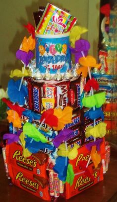 BIRTHDAY 3 Tier CANDY CAKE.. Topper is Birthday Mug and includes 3-4 lbs of candy and chocolate mix Birthday Mug, Birthday Gifts, Birthday Gift Baskets, Chocolate Mix, Party Ideas, Candy, Mugs, How To Make, Birthday Presents