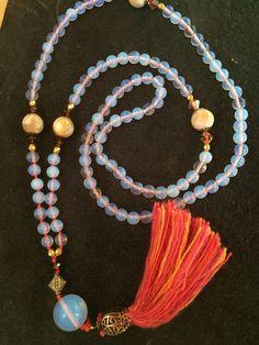 Opal gemstone mala necklace and pure silk tassel Beaded Tassel Necklace, Tassel Jewelry, Boho Necklace, Opal Gemstone, Pure Silk, Handmade Necklaces, Making Ideas, Jewelry Stores, Tassels