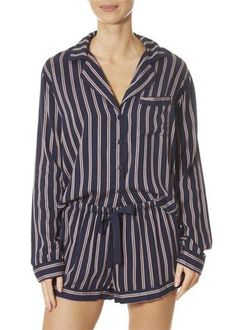 This is the Camden Stripe PJ Short Set With Piping by top brand, Rails! Featuring long sleeves, a button down top and drawstring shorts. This is the essential piece your closet needs to keep you warm on Spring nights. SHOP NOW! Womens Pjs, Pj Shorts, Khaki Jacket, Black Jumper, Camden, Black Stripes, Short Set, Pajama, Long Sleeve