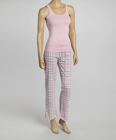 Another great find on #zulily! Pink & Gray Plaid Pajama Set - Women #zulilyfinds