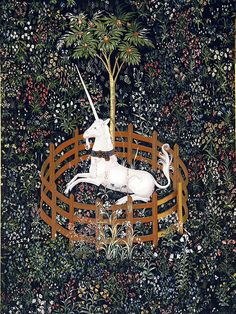 """The sixth and last tapestry of The Hunt of the Unicorn (""""The unicorn is in Captivity and No Longer Dead""""), copy displayed in the Chapel of Stirling Castle. Wicca, Adventure Time Seasons, Unicorn Tapestries, Contemporary Tapestries, Stirling Castle, Unicorn Tattoos, The Last Unicorn, Unicorn Art, Medieval Art"""