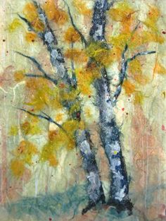 collage art japanese chigiri | Two Birches (for Donald and Billy) by Sara Longworth