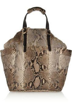 Jimmy Choo Blare leather-trimmed studded python tote NET-A-PORTER.COM