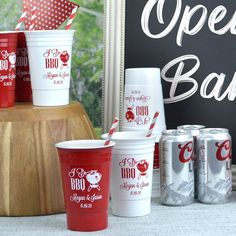 Available in 15 color options, reusable 16 ounce double wall Solo Cup-style party cups personalized with choice of design and up to 4 lines of custom print on the front and back of each cup are perfect for keeping beer and mixed drinks cold during your wedding reception AND they are reusable! After your wedding reception or party, guests can take these thick, insulated, dishwasher-safe cup favors home as souvenirs to use again and again. Wedding Cups, Gifts For Wedding Party, Wedding Favors, Wedding Reception, Small Thank You Gift, Thank You Gifts, Solo Cup, Personalized Cups, Plastic Cups