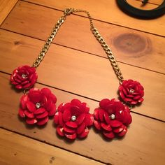 """Red flower necklace 17 """" with 3"""" extender clasp. Red Flower necklace with 5 flowers with crystal centers. Jewelry Necklaces"""
