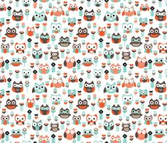 Mint and orange owl illustration  fabric by littlesmilemakers on Spoonflower - custom fabric