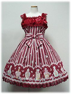 Angelic Pretty / Jumper Skirt / Rose Toilette JSK in Red or Mint