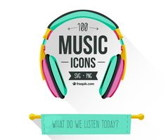 100 Music Icons (SVG, PNG)
