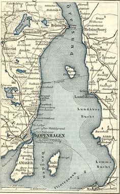 Antique Map 1890 Landskrona, Malmö & Copenhagen - my family is from Landskrona.....one day I'll go home!