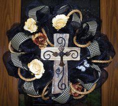 Easter - Rustic Cross Deco Mesh Wreath