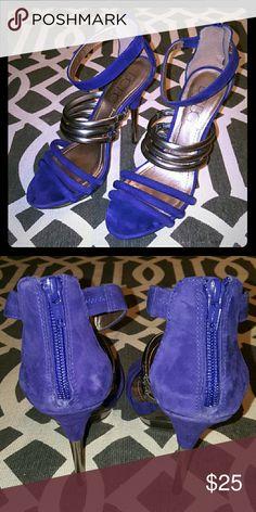 BCBG heels Sapphire heels, worn once on my bday! BCBG Shoes Heels