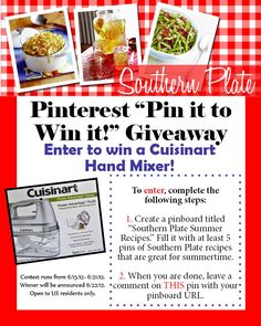 Enter to win a Cuisinart Hand Mixer from Southern Plate! http://pinterest.com/christy_jordan/southern-plate-giveaways/
