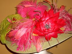 Imagine cashing the winning ticket in this designer Kentucky Derby Hat in pink and green. Derby Day, Derby Time, Giant Water Lily, Wide Brim Sun Hat, Kentucky Derby Hats, Pink Tulle, Hat Pins, Sun Hats, Fascinator