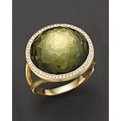 IPPOLITA 18K Gold Rock Candy Lollipop Ring in Green Gold Citrine and Pyrite Doublet with Diamonds