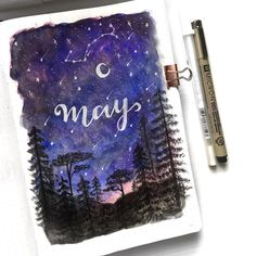 // Here is the monthly spread for the month of May. The theme for this month is universe/galaxy. • • • • #bulletjournal #bujo…