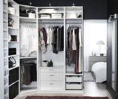 Small White IKEA Pax Closet System For Modern Bedroom Design Ideas - Bedroom closet organizers ikea Closet Walk-in, Ikea Pax Closet, Ikea Closet Organizer, Closet Organization, Closet Ideas, Corner Closet, Organization Ideas, Storage Ideas, Closet Office