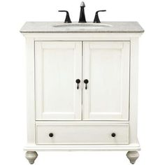 Home Decorators Collection Newport 31 in. Vanity in White with Granite Vanity Top in Champagne - 1975200410 - The Home Depot