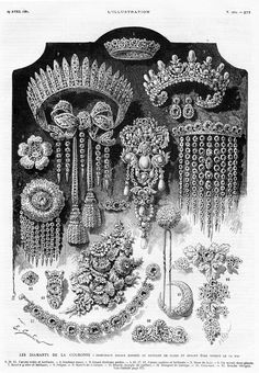 French Crown's jewel sale, 1887 This is an approximated drawing of the French crown jewels.