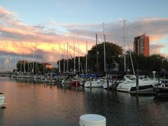 View at night from Harbor 9 Marina in St. Clair Shores, tons of great restaurants along the Nautical Mile