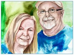 I wanted to try doing another portrait of Charlie, this time with his wife. This was actually the portrait I painted after my 2-week hiatus [from painting animation background]. It felt like I'm re-learning the craft. :)    - http://ricaespiritu.com/watercolor-portrait-35-of-100-mr-and-mrs-adams/ #AnArtworkADay, #Art, #Watercolor, #WatercolorPortraits